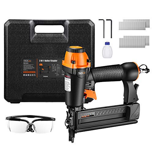 TACKLIFE 18GA 2-in-1 Pneumatic Nailer 58-2 Wider Visual Nail Indicator 200pcs Brad Nails and 200pcs Crow Staples 360 Degree Adjustable Exhaust and CE Safety Glass  TK5040