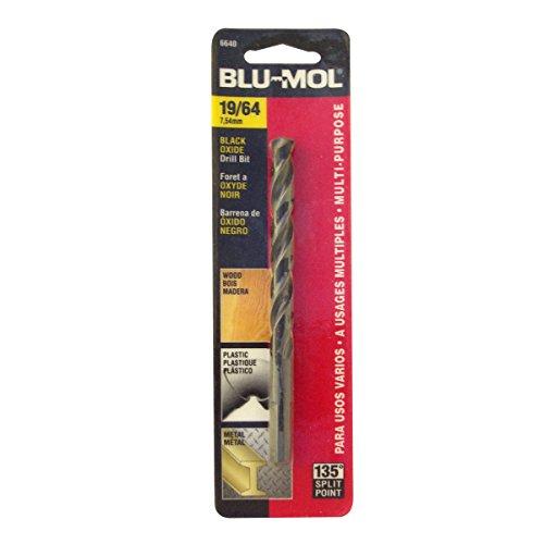 Disston E0101053 Carded Blu-Mol Black Oxide Jobber Drill Bits Diameter 1964-Inch
