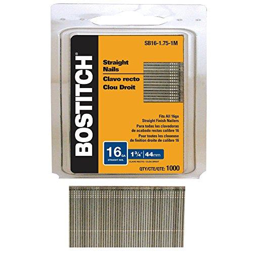 BOSTITCH SB16-175-1M 1-34-Inch by 16-Gauge Bright Straight Finish Nail 1000-Per Box