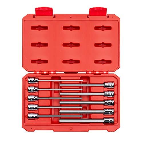 TEKTON 38 Inch Drive Long Hex Bit Socket Set 10-Piece 3-10 mm  SHB91302