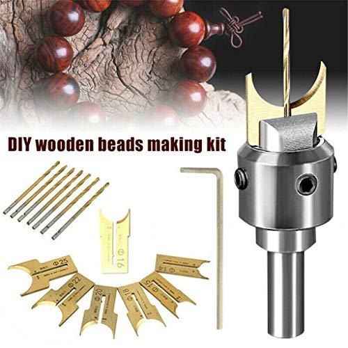 Hand Drill BitsBeads Drill Bit Wooden Bead MakerMilling Cutter Set DIY Woodworking Tool Kit for Wooden Beads Woodworking14-25mm Fit for Rosewood 16pcs