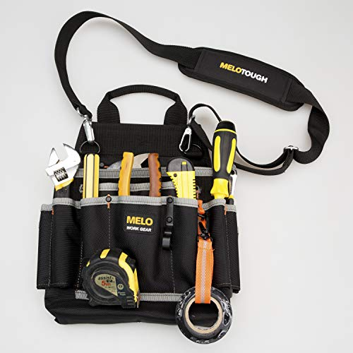 Melo Tough Professional Tool Pouch Shoulder Tool Carrier with Multiple Pockets Tool Organizer for Technicianmaintenance and Electricians Tools
