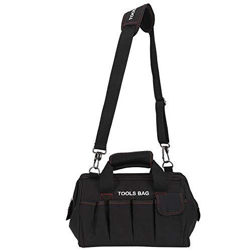 Alomejor Tool Bag 12-inch Tool Bag Organiser Hard Base Heavy Duty Muti-Purpose Tool Bag with Adjustable Shoulder Strap for Home DIY Equipment Storage