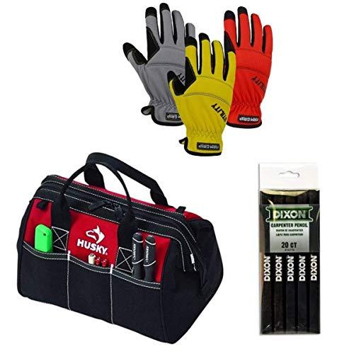 Handyman Set Consist of Husky 12 inch Tool Bag Pack of Black Carpenter Pencils and Work Gloves