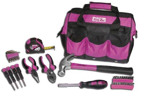 The Original Pink Box PB30TBK 30-Piece Tool Set w 12-Inch Tool Bag Pink