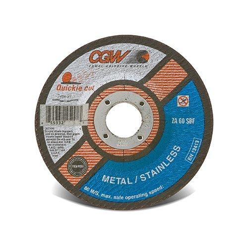 CGW Abrasives 421-45005 Zirconia Aluminum Oxide Type 27 Depressed Center Cutoff Wheel 5 0045 60 Grit 78 12250 rpm Pack of 25