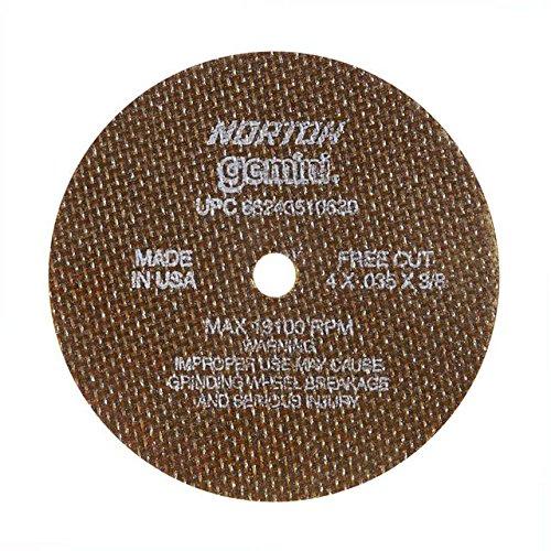 Norton 547-66243510630 Gemini Aluminum Oxide Type 01 Cutoff Wheel 4 0035 60 Grit 38 19100 rpm Pack of 25