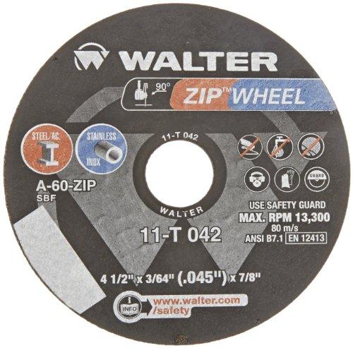Walter ZIP Wheel High Performance Cutoff Wheel Type 1 Round Hole Aluminum Oxide 4-12 Diameter 364 Thick 78 Arbor Grit A-60-ZIP Pack of 25