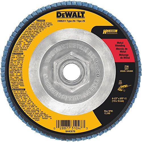 DEWALT DW8311 4-12-Inch by 58-Inch-11 36 Grit Zirconia Angle Grinder Flap Disc