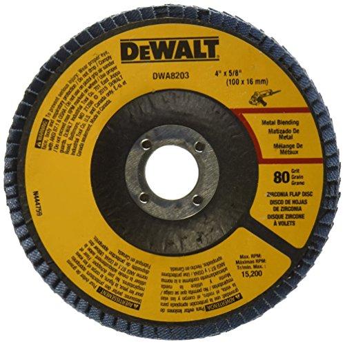 DEWALT DWA8203 80 Grit Zirconia T29 Flap Disc 4-Inch X 58-Inch