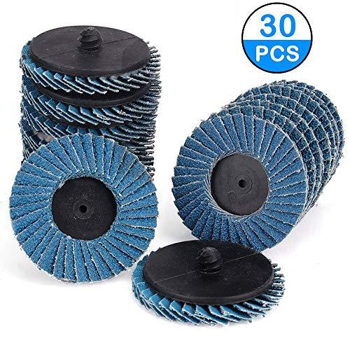 Kelife 30 PCS Flap Disc 2 Inch T27 Zirconia Alumina Flat Flap Disc Roloc Roll Lock Grinding Sanding Sandpaper Wheels with 14 inch Holder Includes 406080 grits