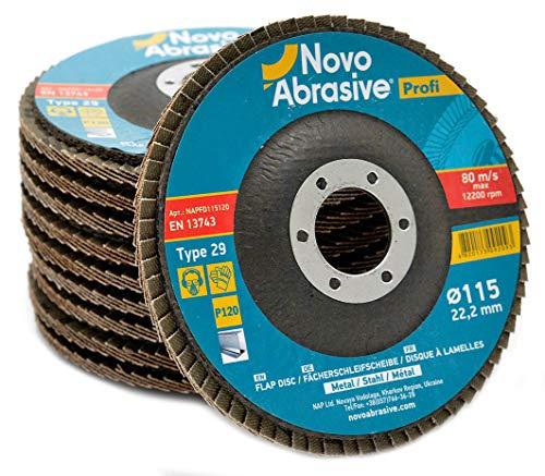 10 PCS Flap Grinding Disc 45 x 78 Inch 120 Grit Type 29 Aluminum Oxide Sanding Flapper Wheel by NOVOABRASIVE