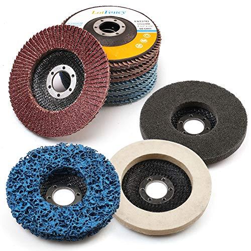 11PCS 45 Inch Flap Discs Grinding Polishing Discs Set by LotFancy - 40 60 80 120 Grit Assorted Sanding Grinding Wheels Strip Disc Nylon Polishing Disc Felt Polishing Disc Kit
