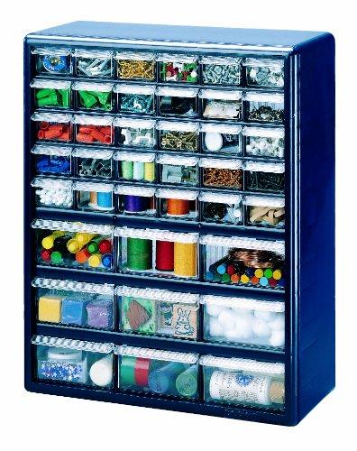 Stack-On DSB-39 39 Bin Plastic Drawer Parts Storage Organizer Cabinet Blue