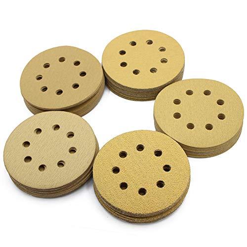 5in Sanding Discs 100PCS 60 80 120 150 220 Grit Sandpaper Assortment 8 Holes Dustless Hook and Loop Random Orbital Sander Sand Paper by LotFancy