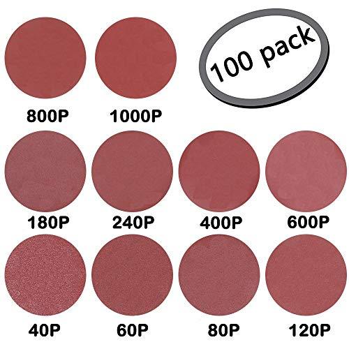 GeBot 100PCS 5-Inch NO-Hole PSA Aluminum Oxide Sanding Disc Self Stick Assorted 4060 80120 180240 400600 8001000 Grits 5 Inch
