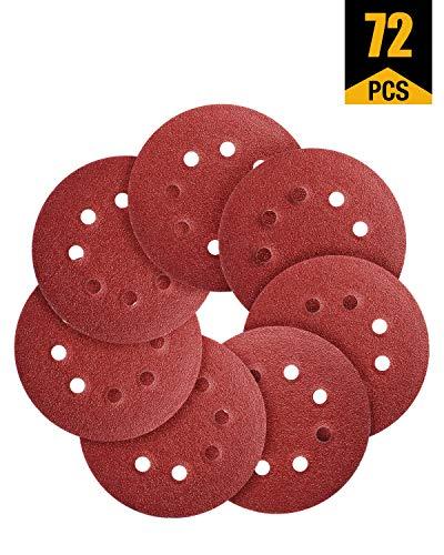 Sanding Discs 72 PCS Hook and Loop 5 In Sanding Disc 5 Inch 8 Hole Sandpaper Orbital Sander Pads 406080120180240320 Grits