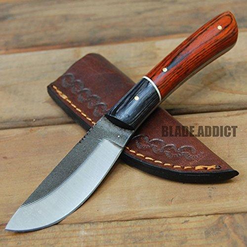 75 FULL TANG SAWMILL FILE SKINNER KNIFE TOOL LEATHER SHEATH Hunting FISHING