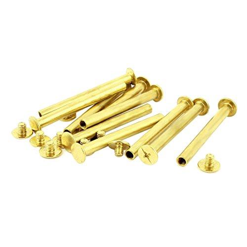 Album Scrapbook 5mmx50mm Brass Plated Binding Chicago Screw Post 10pcs