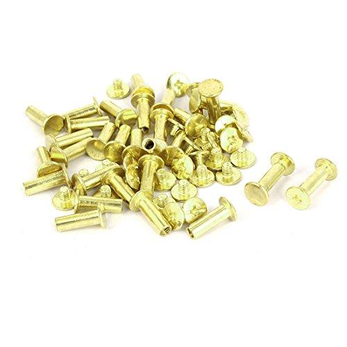uxcell 5mmx15mm Brass Plated Chicago Screws Binding Posts Docking Rivet 30pcs