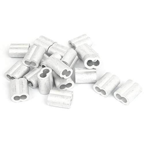 uxcell 8mm 516 inches Double Hole Aluminum Swage Sleeve Wire Rope Clamp Clip 20pcs