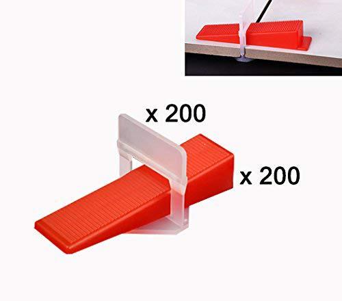 Z-Color 400pcs Plastic Tile Leveling System 200 Clips 200 Wedges Tiling Flooring Tools3mm