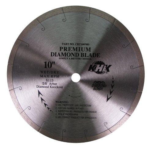 KHK CRT10070D Premium 10-Inch WetDry Continuous-Rim Diamond Blade with 58 Arbor for Ceramic Stone Tile
