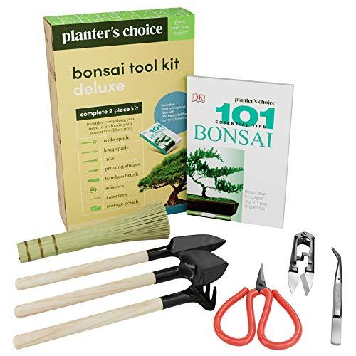 Premium Bonsai Tool Kit  Bonsai 101 Book - Set Includes Wooden Rake Long Wide Spades Scissors Tweezers Bamboo Brush Pruning Shears TrimmerClipper in Fabric Storage Holder - Bonsai Tools