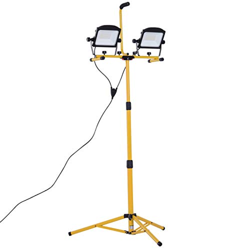 HOMCOM 10000 Lumen LED Work Lights Dual Head Weather Resistant with Tripod Stand