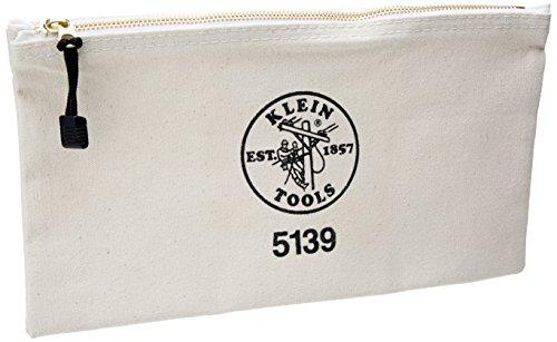 Klein Tools 5139 12-12-Inch Canvas Zipper BagWhiteSmall
