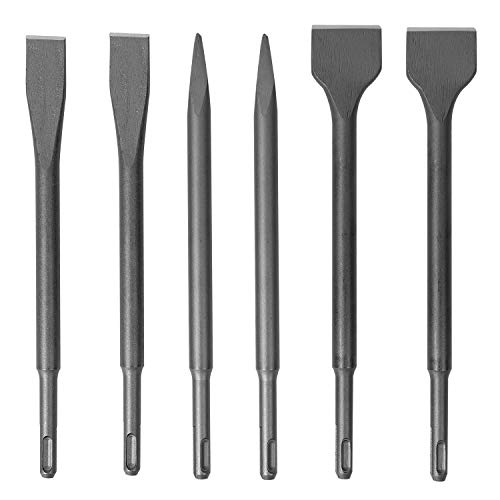 KINJOEK 6 PCS Chisel Set SDS Rotary Hammer Drill Bit Set with Carrying Case Pointed Chisels Flat Chisels Wide Chisels