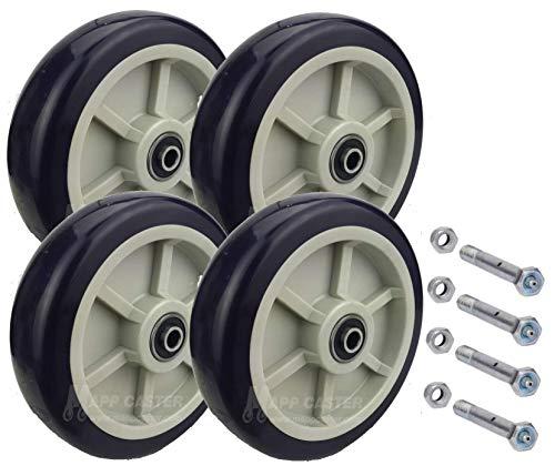 Drywall Sheetrock Dolly Polyurethane Wheels with Axles Set of 4 - USA Made