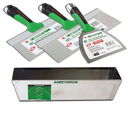 USG Sheetrock Matrix Stainless Steel Drywall Taping Knife Set 6-10-12 with Matrix Mud Pan