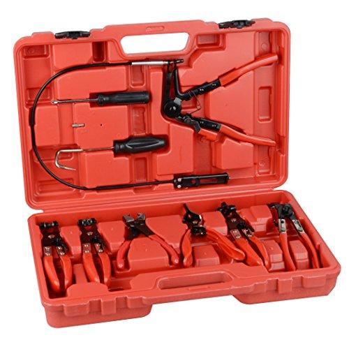 9pcs Wire Long Reach Hose Clamp Pliers Set Fuel Oil Water Hose Auto Tools