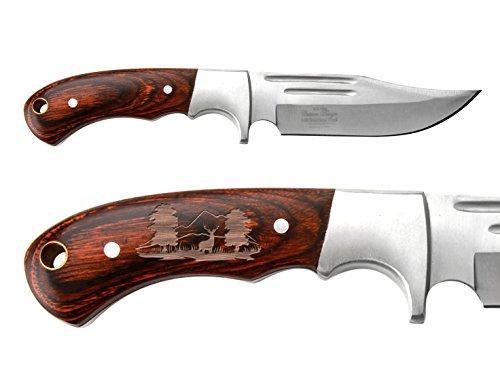 NDZ Performance Full-Tang Fixed Blade Hunting Straight Edge Knife Elk Ridge ER-052 Wood Bolster with Sheath Deer Hunter Scene