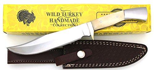 Wild Turkey Handmade Real Bone Handle Full Tang Fixed Blade Hunting Knife wLeather Sheath Hunting Camping Fishing Outdoors Sharp Blade Bone