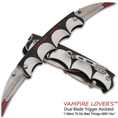 10 DUAL BLADE GRIP HANDLE Bat Style Vampire Folding Double Pocket Knife Belt Clip