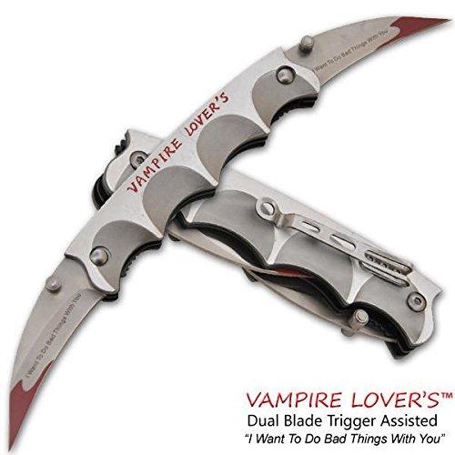 10 DUAL BLADE GRIP Silver HANDLE Bat Style Vampire Folding Double Pocket Knife Belt Clip