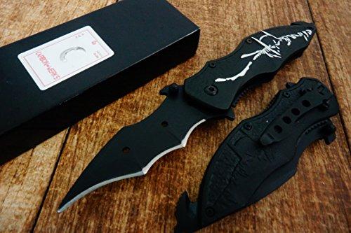 Carbon Werks 8 Tactical Black Assisted Open Pocket Knife Folding Tactical Batman Design Dark Knight Glass Breaker Bottle Opener Belt Clip in 3 Colors Black Green Red BlackSilver