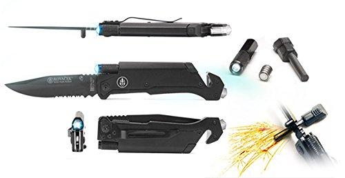 Kovacek AMZ3 Elita Survival Pocket Knife Belt cutter Magnesium Fire Starter LED Flashlight Glass Breaker GREAT GIFT
