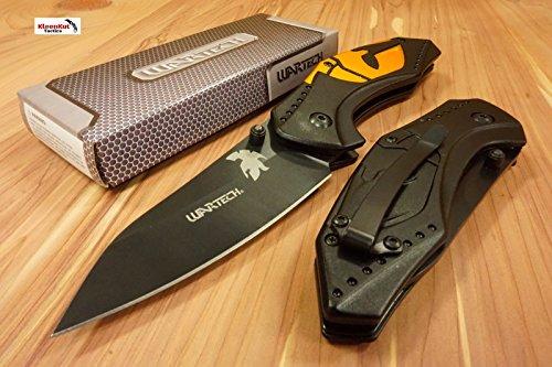 Only US 8 Gold Spartan 300 Tactical Spring Assisted Open Pocket Knife Belt Clip Black