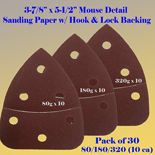 30 Assorted Mouse Detail Sander Sandpaper Sanding Paper Hook Loop Assorted 60 80 120 180 240 320 Grits 55 X 3875 Grit for Black Decker Craftsman Ryobi Cat Mouse Skil