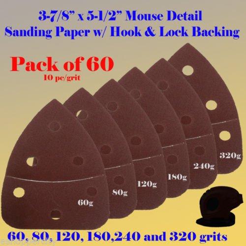 60X Mouse Detail Sander Sandpaper Sanding Paper Hook Loop Assorted 60 80 120 180 240 320 grits 55 x 3875 Grit For Black Decker Craftsman Ryobi Cat Mouse Skil