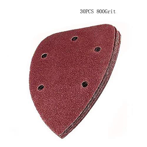 KingBra 800 Grit Mouse Detail Sander Sandpaper 5 Holes Sander Pads Hook and Loop Sanding Sheets Pack of 30