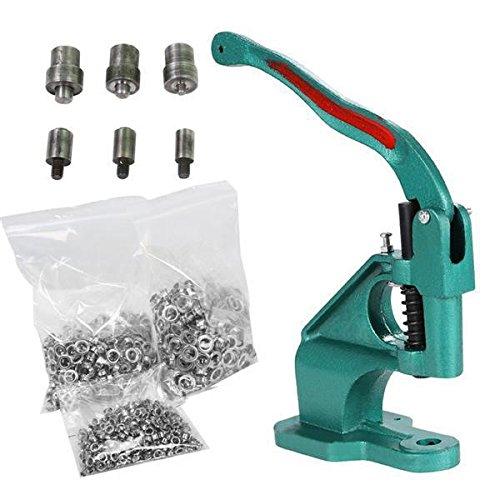 Yaheetech Eyelet Grommet Machine Hand Press Grommet Machine with 3 Die 1500 Pcs Silver Grommets Heavy Duty Punch Tool Kit