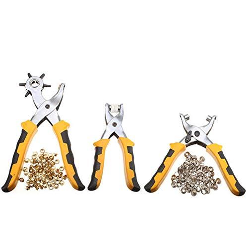 Nrthtri smt Leather Belt Hole Punch Plier Eyelet Pliers Tool Kit 3Pcs with 200pcs Parts Pliers Ratchet