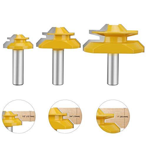 Baowox 45°Lock Miter Bit 12 Inch Shank Glue Joint Lock Miter Router Bit Woodworking Tools Set