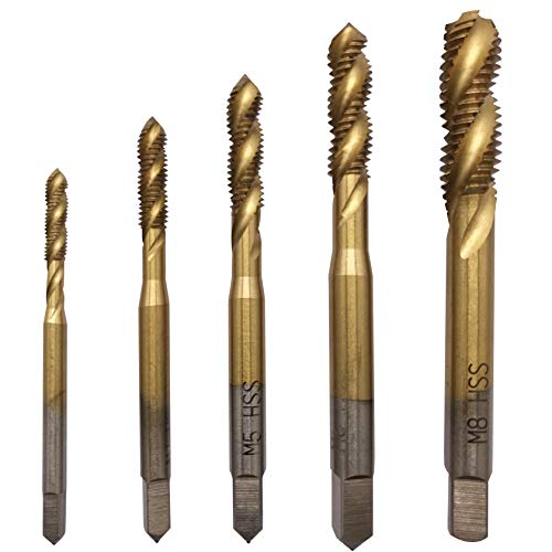 M3 M4 M5 M6 M8 Titanium Coated HSS Spiral Flute Metric Tap Set 5Pcs
