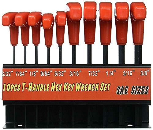 10 pcs Allen Wrench Hex Key Set Extra Long T-handle SAE Sizes wStorage RackJikkolumlukka