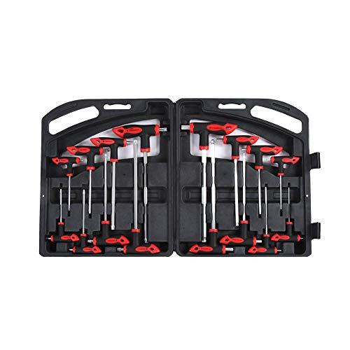 T-Handle Hex Key SetT-Handle Ball Hex Wrench Hex Key Set16 pcs CR-V T-Handle Ball End Hex Key Wrench Set T-Handle Star Wrench Set